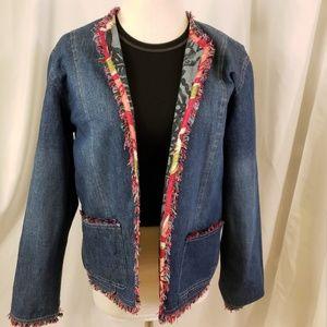 Reversible denim jacket color frayed edge trim sol